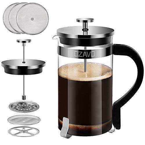 OZAVO French Press 1 Liter Glas Kaffeebereiter, Kaffee-Presse mit Edelstahl-Filter, Kaffee-Kanne aus Glas, Teebereiter mit Edelstahl-Rahmen, 8 Tassen
