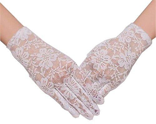 TANGFUTI Fahsion Short Lace Five Fingers Bridal Gloves 017IV