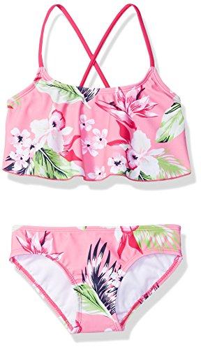 Kanu Surf Girls' Big Flounce Bikini Beach Sport 2 Piece Swimsuit, Alania Floral Pink, 14