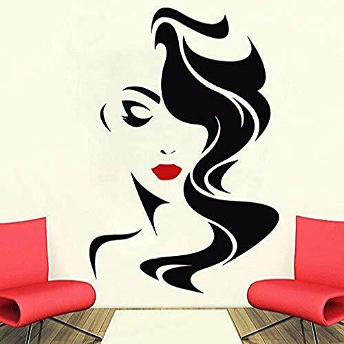 Tatuajes de pared Salón de belleza para damas Labios rojos Pegatinas de vinilo Peluquería interior Peluquería Peluquería Barbería Vinilos decorativos 57x85 cm