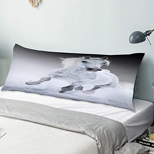 Funda de Almohada para el Cuerpo,Caballo,Funda de cojín Larga con Cremalleras para sofá de Dormitorio en casa (20x54 Pulgadas)
