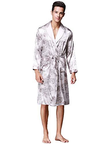 HAINE - Albornoz para hombre, de seda satinada, kimono, bordado, Yukata, vintage, talla L-3XL