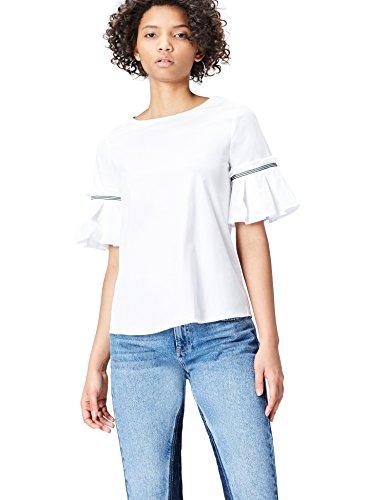 Amazon-Marke: find. Bluse Damen mit Trompetenärmeln und Streifen, Elfenbein (White), 34, Label: XS