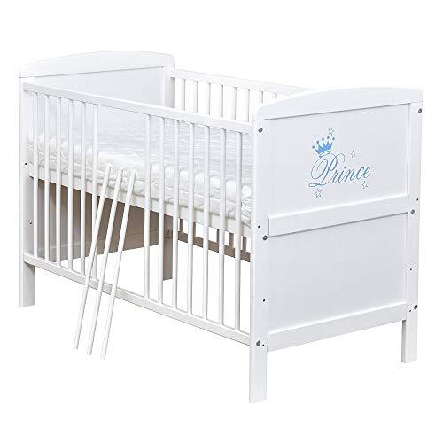 Baby Delux Babybett Kinderbett Juniorbett mit Prince 140x70 Weiß umbaubar mit Matratze