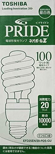 東芝 電球形蛍光灯 電球100Wタイプ(D形) 3波長形昼白色 E26口金 EFD25EN/20-PDS-GU