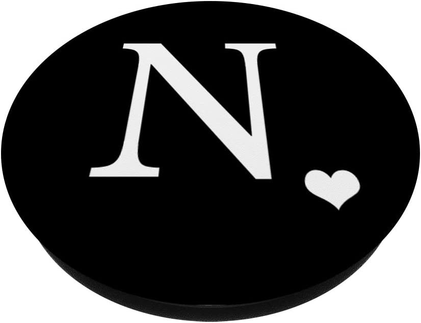 White Initial Letter N heart Monogram on Black PopSockets PopGrip Swappable Grip for Phones /& Tablets