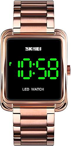 YQCH Relojes para Hombre Reloj Digital Minimalista LED de retroiluminación de Acero Inoxidable Reloj de Pulsera de Negocios (Color : Rose Gold)