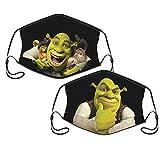Shrek 2 Pcs Unisex Washable Reusable Face Mask Adjustable Dustproof Comfortable Cloth Masks With Filter Pockets