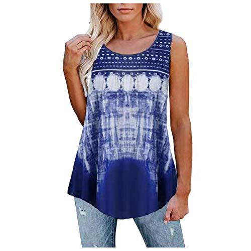 YANFANG Camisetas Sin Mangas con Cuello Redondo Y Estampado para Mujer Camisas De Entrenamiento Sueltas Casuales,Blusa Primavera 2021,Blusas Verano Mujer,Blusas Moda,Azul,S