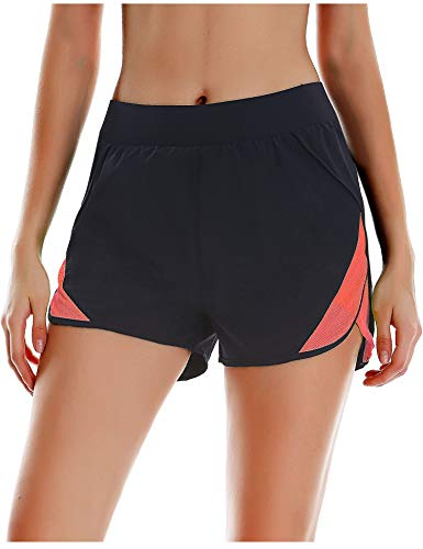 COOrun Women Athletic Workout Shorts Polyester Gym Shorts Training Running Short with Liner,Red M