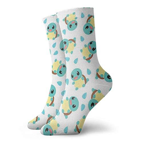 JONINOT Cute Pet Squirtle Calcetines Crew Comfort Casual Deportes Adolescentes Anime Tobillo Niño acogedor W8.5CM x L30CM