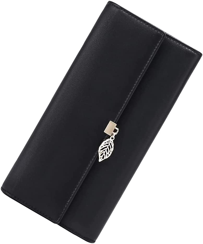 Amosfun Zipper Wallets for Women Credit Card Holder Phone Wristlet Clutch Multifunction Long Purse with Leaf Pendant Clip