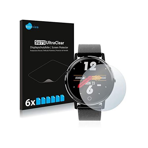 "savvies Protector Pantalla Compatible con Holalei Fitness Tracker 1.3"" (6 Unidades) Pelicula Ultra Transparente 1"