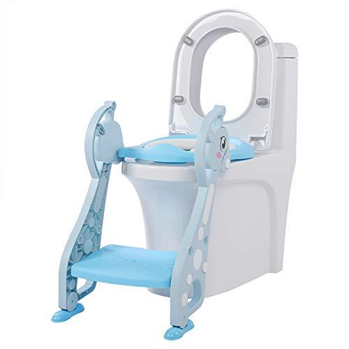 lyrlody Riduttore/Scaletta per WC per Bambini,Baby Training WC Vasino Sedile,Ergonomico con Schienale Alto Scaletta,Antiscivolo(Blu)