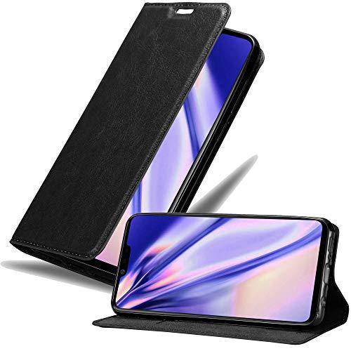Cadorabo Hülle für LG G8 ThinQ in Nacht SCHWARZ – Handyhülle mit Magnetverschluss, Standfunktion & Kartenfach – Hülle Cover Schutzhülle Etui Tasche Book Klapp Style