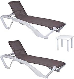 comprar comparacion resol set de 2 tumbonas jardín exterior Acqua estructura blanca, textilene arena y 1 mesa auxiliar Andorra blanca