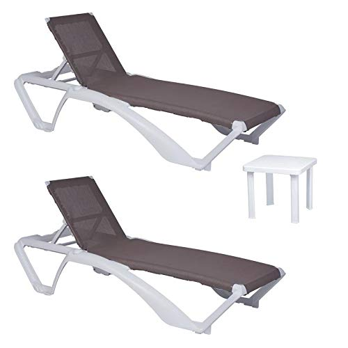 resol set de 2 tumbonas jardín exterior Acqua estructura blanca, textilene arena y 1 mesa auxiliar Andorra blanca