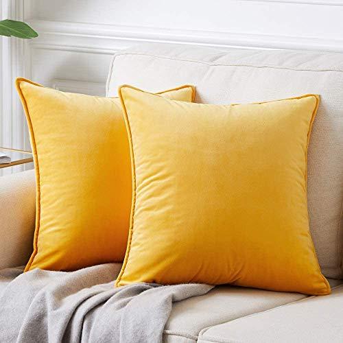 DAOXU 45x45 Funda de cojín de Terciopelo para Ropa de Cama, Paquete de 2, Funda de Almohada Decorativa para sofá y Funda de sofá (Mostaza, 45x45cm(2pcs))