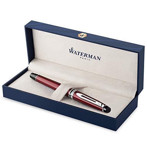 Waterman Expert penna roller, rosso scuro con finiture cromate, ricarica punta fine con cartuccia di inchiostro nero, confezione regalo