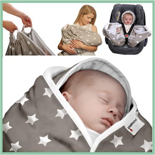 Snugglebundl - Die Babydecke mit Griffen (Grey with White Stars)