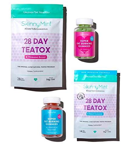 SkinnyMint Detox Bundle- Super Fat Burning Gummies (120 Gummies) and 28 Day Ultimate Teatox (42 Tea Bags). Ultimate Cleanse & Detox Formula. Reduce Bloat & Boost Energy.