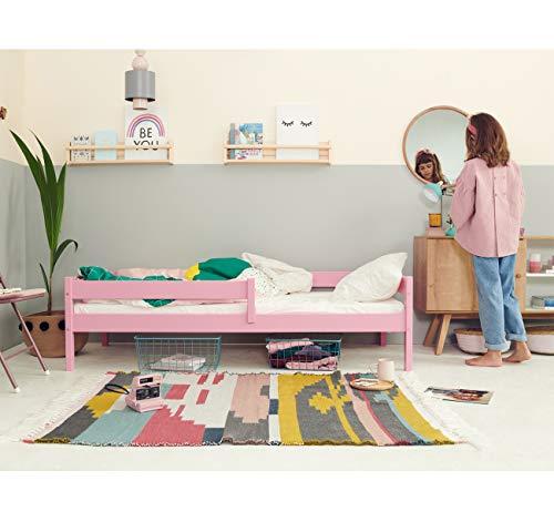 Kinderbett Jugendbett - Bett für Kinder - Rosa aus Holz - Kiefer Massiv - Rausfallschutz - für Mädchen und Junge - Kakadu 180 x 80 cm