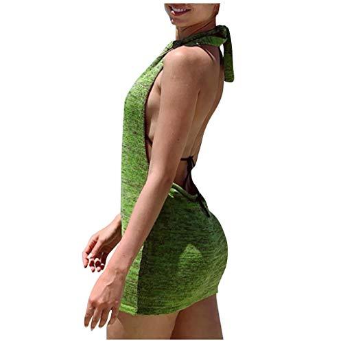 NAQUSHA Vestido atractivo de las mujeres de la manera del halter del vendaje sólido sin mangas vestido de cóctel Backless Mini vestido de punto