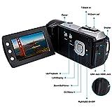 Videokamera Camcorder GDV5162 Wiederaufladbare Digitalkamera FHD 1080P 12MP DV 270° LCD drehbarer Bildschirm, Camcorder für Kinder/Anfänger/ältere Menschen - 4