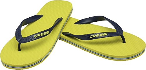 Cressi Beach Flip Flops Chanclas de Playa Unisex para Adultos, Amarillo/Azul Navy, 39/40