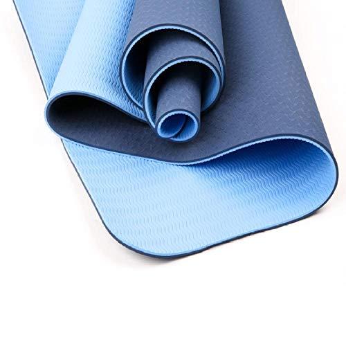 Charm4you Super Morbido Tappetino per Yoga,Protezione Ambientale TPE Fitness Yoga Mat-Navy_183 * 120 * 0.6cm,Tappetino per Yoga Combinazione