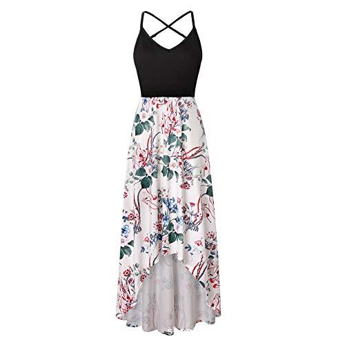 FQZWONG Dress for Women Strap Open Back Sundress Floral Print V Neck Sleeveless Dress Casual Summer Maxi Dress for Holiday(Green,5X-Large)
