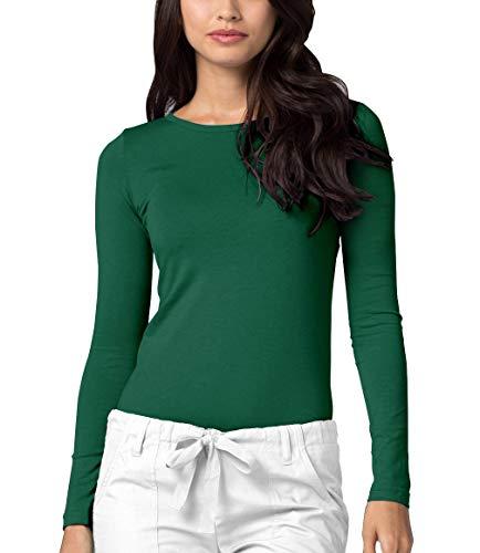 Adar Underscrubs for Women - Long Sleeve Underscrub Comfort Tee - 2900 - Hunter Green - M