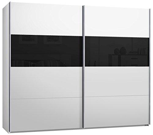 Armario de puertas correderas, armario, aprox. 270 cm, blanco con cristal negro, compra a partir de fábrica, armario: Amazon.es: Hogar