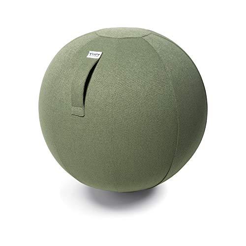 VLUV SOVA Stoff Sitzball 60-65cm, ergonomisches Sitzmöbel, atmungsaktiv und langlebig, mit Tragegriff und Bodenring, inkl. Handpumpe, Farbe: Pesto (grün)