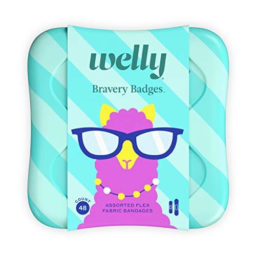 Welly Tiritas – Bravery Badges, tela flexible, adhesiva, formas estándar, mascotas peculiares (llama, perezoso, narvales), 48 unidades