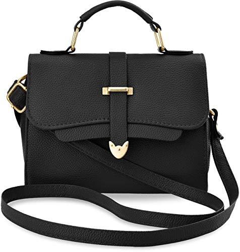 Unbekannt Damentasche Henkeltasche Köfferchen Bowling Bag Handtasche Schultertasche - schwarz