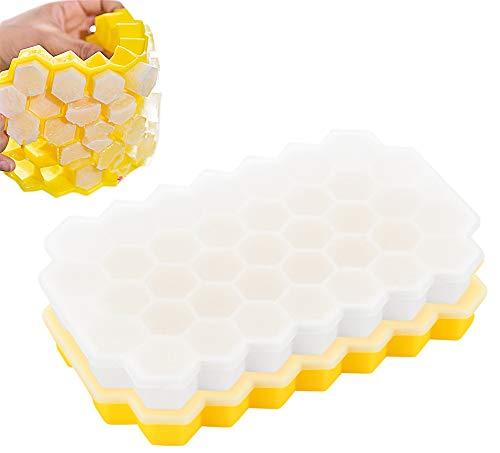 N/A Ldawy Eiswürfelform Silikon Eiswürfelformen Eiswuerfelbehaelter 2 Stück Eiswürfelschale mit Nicht verschüttetem Deckel, am besten für Gefrierschrank, Wasser, Whisky, Cocktail (transparent, gelb)