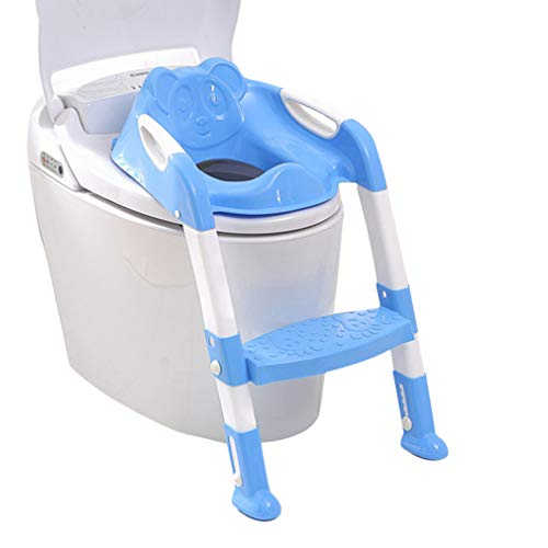 Kitechildhrrd Toilettensitz Kinder WC Toilette Training mit Leiter/Treppe Toilettentrainer Kindertoilette Töpfchen Trainer Sitz Rutschfest Stabil Klappbar Höhenverstellbar für 1-7 jährige Kids (Blau)