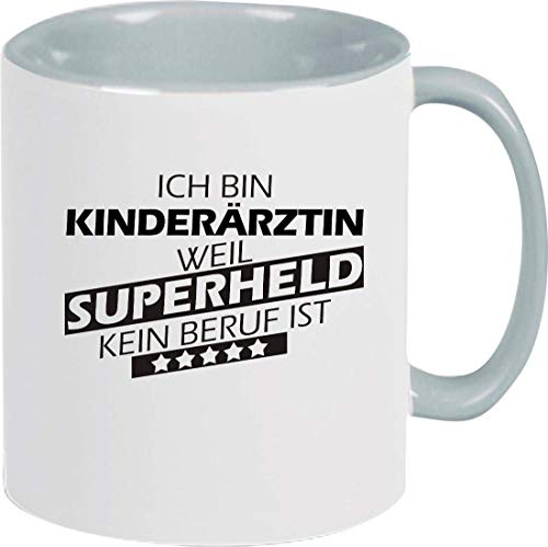 Shirtinstyle Taza de Café, Yo Bin Doctora de Niños Weil Super Héroe Ninguno Ocupación Es, Ocupación Formación Cierre, Logo, Dicho, Motivo - Taza Gris