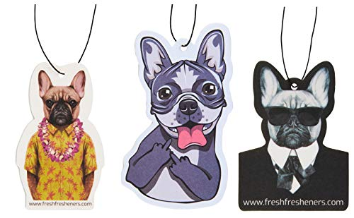 Cute and Funny Dog Design Car Air Fresheners Scented with Essential Oils (French Bulldog)(3 pack mixed scents)