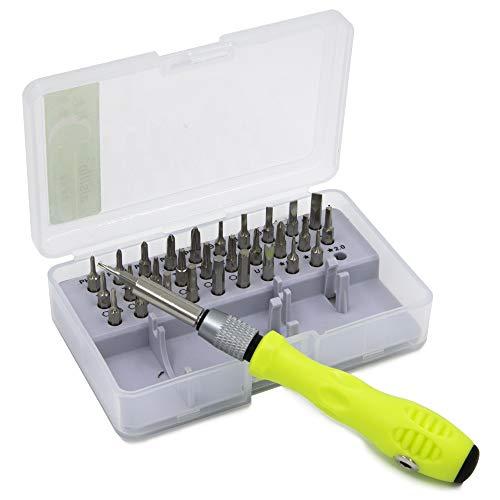 MMOBIEL Professionelles Schraubendreher Reparatur Set 32 in 1 mit 30 Bits inkl Verlängerung Schaft für Elektrogeräte
