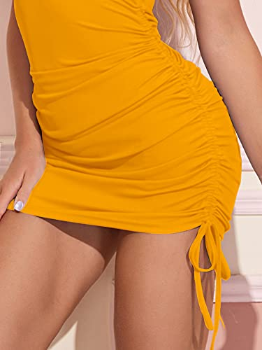 Aahwan Yellow Ruched Drawstring Bodycon Mini Dress for Women (138-Yellow-S)