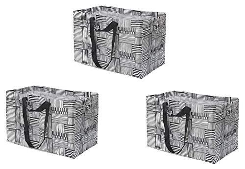 Ikea 704.292.82 Fissla Große Einkaufstasche, Tragetasche, Weiß / Schwarz, 3 Stück