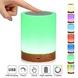 Luz Nocturna LED, Lámpara de Mesa LED, Luz Nocturna Infantil USB Recargable Diseño de Control Táctil Portátil Cambio de Color RGB para Niños, Dormitorios