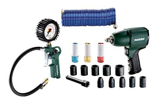 Metabo Druckluft Set (Schlagschrauber inkl. Steckschlüsselsatz, Verlängerungsaufsatz, Spiralschlauch) 691163000