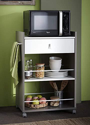 habeig Küchenwagen Basalt #480 mit Weiss Küchentrolley Schublade Küchenschrank Küchenhelfer