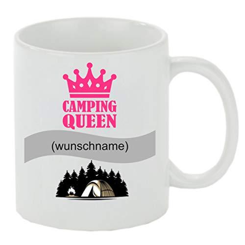 Creativ Deluxe Kaffeebecher m. Wunschname (Wunschname) Camping Queen Kaffeetasse mit Motiv, Bedruckte Tasse mit Sprüchen oder Bildern - auch individuelle Gestaltung