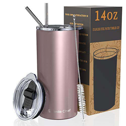Umite Chef Tumbler with Lid, Stainless Steel Insulated Coffee Travel Mug, 14 oz Rose Gold Skinny Tumbler Lowball, Double Wall Coffee Tumbler Cup with Splash Proof Sliding Lid for Tea, Beverage