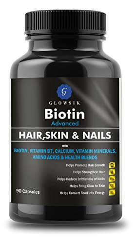 G-GLOWSIK 10000 Mcg Maximum Strength Biotin with Amino Acids and Calcium for Hair, Nails and Skin (90- Capsules)