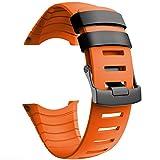 NotoCity Compatible con Correa Suunto Core, Silicona Reloj de Recambio Brazalete Correas para Suunto Core (Hebilla de Plata, Naranja)